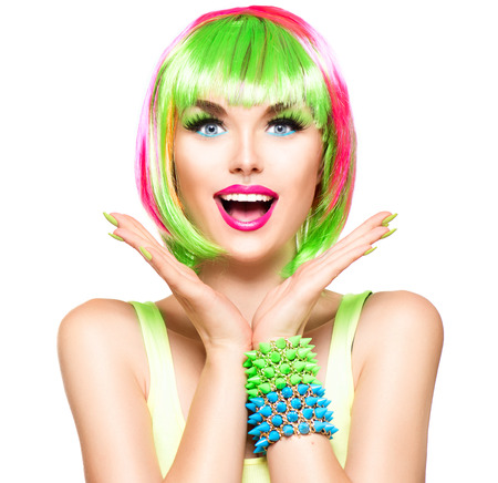 color: Surprised beauty fashion model girl with colorful dyed hair