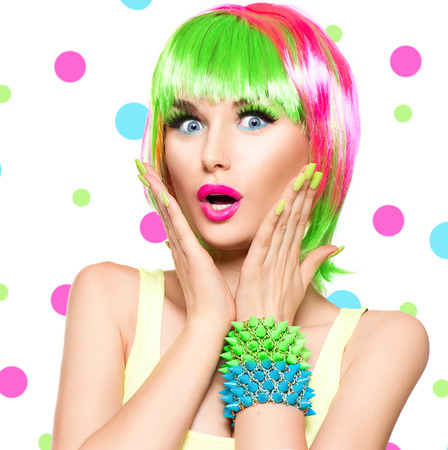 style woman: Surprised beauty fashion model girl with colorful dyed hair