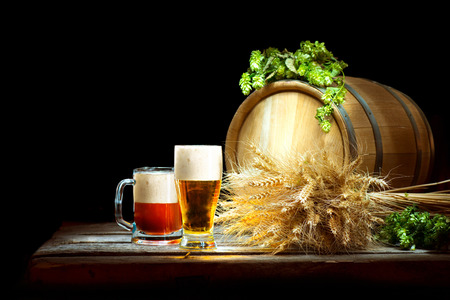 beer production: Beer concept. Wooden Barrel and two mugs with beer and fresh hop with ears of wheat isolated on dark background. Beer production ingredients. Unbottled beer over black. Traditions of brewing