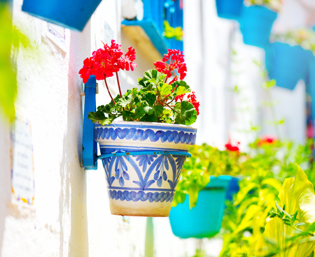 old windows: Spain, Torremolinos. Costa del Sol, Andalucia. Typical white village Stock Photo