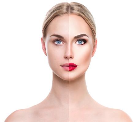 若い金髪美人の前に、メイクを適用した後。2 つの部分に分かれての顔 写真素材