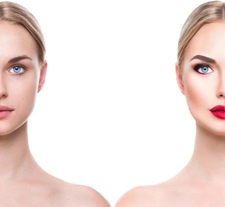 maquillaje de ojos: Joven y bella mujer rubia antes y después de aplicar el maquillaje. Cara dividida en dos partes