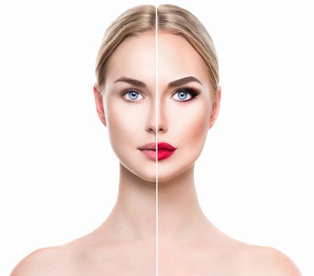 mujer maquillandose: Joven y bella mujer rubia antes y después de aplicar el maquillaje. Cara dividida en dos partes