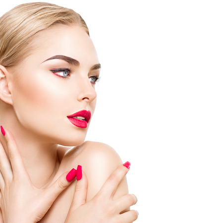 Portrait of glamour girl with bright makeup isolated on white Stock Photo - 46048904