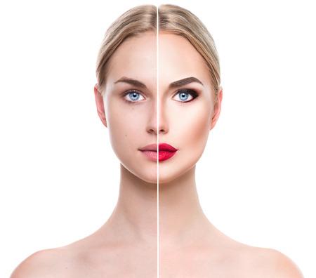 이전과 메이크업 적용한 후 아름 다운 젊은 금발의 여자. 얼굴은 두 부분으로 나누어 스톡 콘텐츠