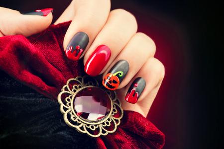 nails: Halloween nail art design. Nail polish