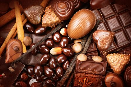 praline: Luxury chocolates background. Praline chocolate sweets