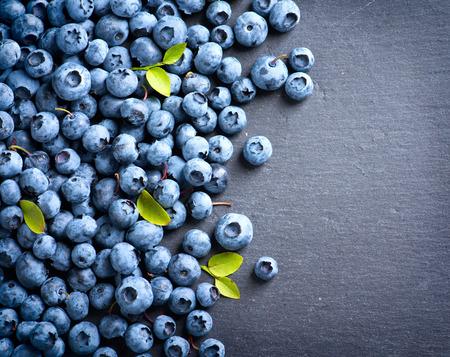 dessert: Blueberry border design. Blueberries background Stock Photo