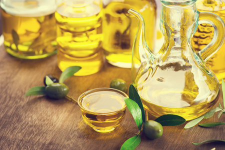 olive green: Oil olive in glass bowls. Oil olive with black and green olives