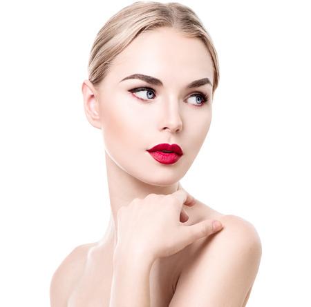 아름다움 젊은 여자 세로 흰색으로 격리