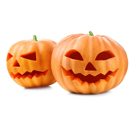 pumpkin head: Halloween pumpkin head jack lantern isolated on white background