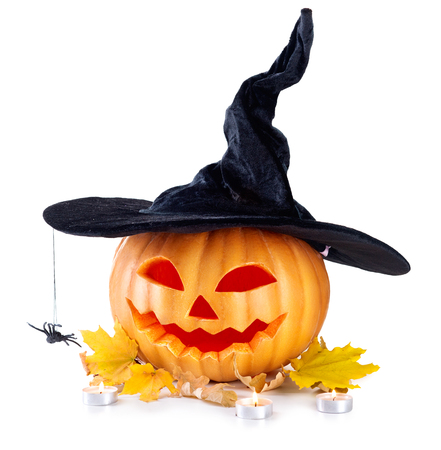 Lanterna de jack cabeça de abóbora de Halloween Foto de archivo - 46883612