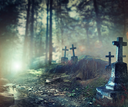 horror: Halloween art design background. Foggy graveyard