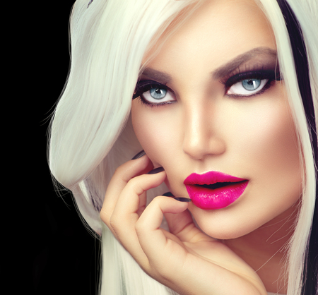 coloring lips: Beauty fashion girl black and white style Stock Photo