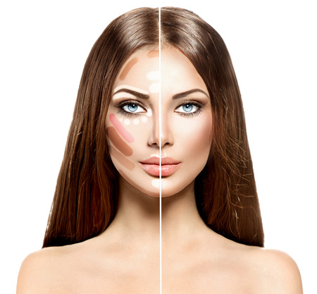 makeup a brush: Divided woman face before and after blending Contour and Highlight makeup Stock Photo