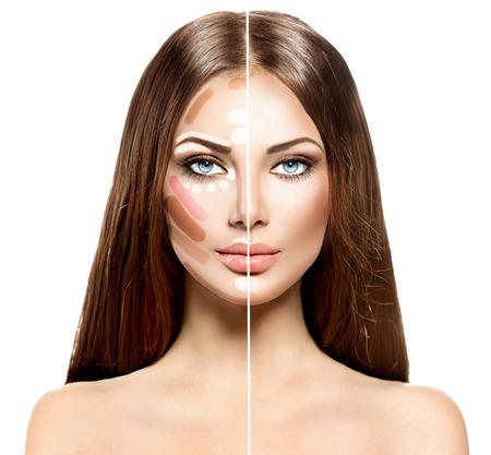 Rosto de mulher dividida antes e depois da mistura da maquiagem Contour e Highlight