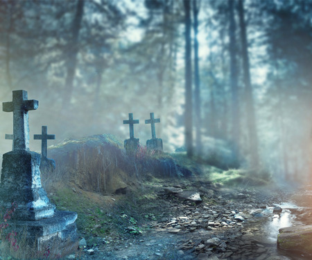 spooky: Halloween art design background. Foggy graveyard at night