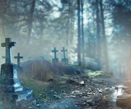Halloween art design background. Foggy graveyard at night