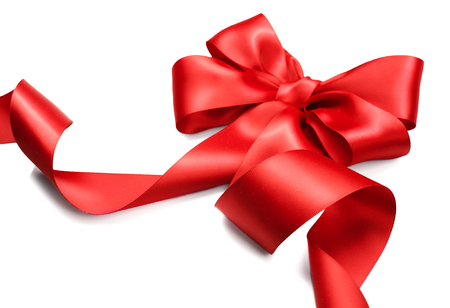 red ribbon bow: Red satin gift bow. Red ribbon isolated on white background