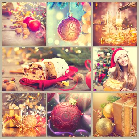 크리스마스 콜라주입니다. 빈티지 신년 축하 이미지의 아름다운 세트 스톡 콘텐츠
