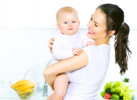 woman diet: Mother and baby together. Dieting concept. Healthy eating Stock Photo