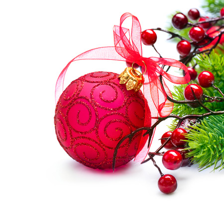 christmas holly: Christmas and New Year decoration isolated on white background