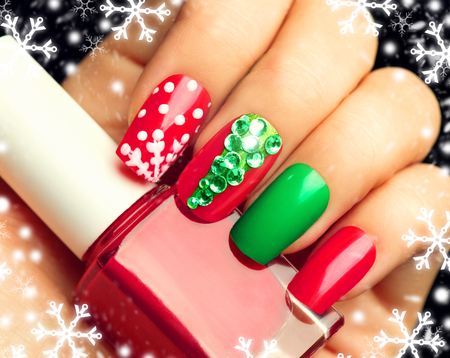 red nail colour: Christmas winter holiday nail art manicure