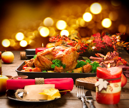 Christmas Dinner. Roasted turkey garnished with potato, vegetables and cranberries Stok Fotoğraf - 48390568