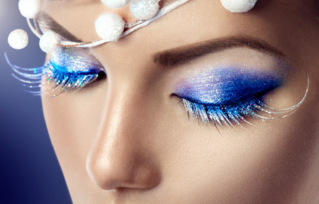 model: Winter Christmas holiday makeup Stock Photo