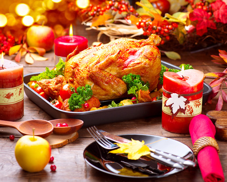 turkey day: Christmas Dinner. Roasted turkey garnished with potato, vegetables and cranberries