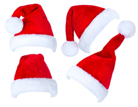 christmas hats: Christmas collage of red Santa Claus hats