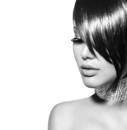 haircut: Fashion beauty girl. Gorgeous brunette woman