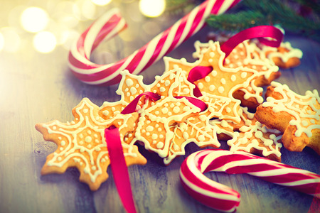 christmas cookies: Christmas background with christmas cookies and candy canes Stock Photo
