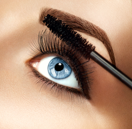 eye brow: Mascara makeup applying closeup. Eyelashes extensions