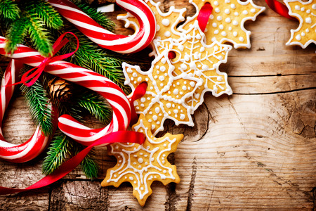 candy border: Christmas background with christmas cookies and candy canes Stock Photo