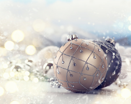 gold silver: Christmas and New Year holiday decoration closeup Stock Photo