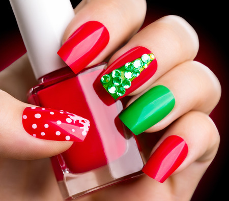 Christmas winter holiday nail art manicure Фото со стока - 49609359