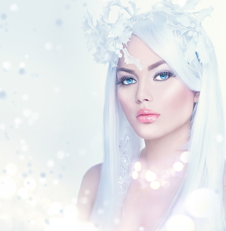 ice queen: Winter beauty woman portrait with long white hair