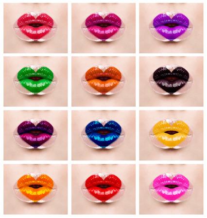 Corazón colorido maquillaje amor labios vacaciones Foto de archivo