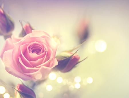 pink: Schöne rosa Rose. Weinlese redete Karte Design