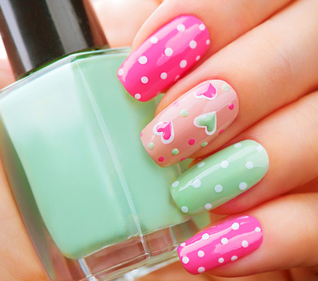 nails polish: Valentines Day holiday style bright manicure