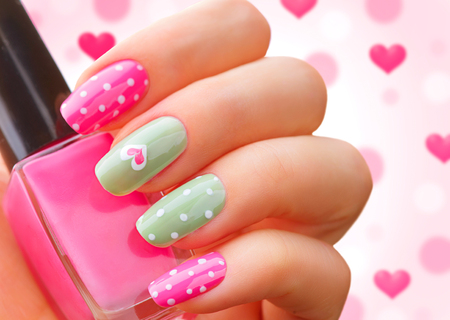 nailart: Valentines Day holiday style bright manicure