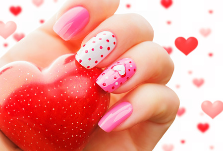 San Valentino festa di giorno di arte del chiodo manicure Archivio Fotografico