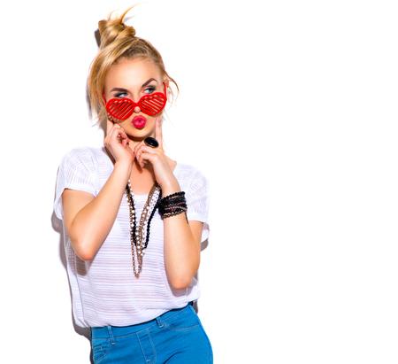 moda: Moda model dziewczyna samodzielnie na białym tle Zdjęcie Seryjne