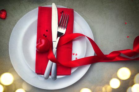 Valentijnsdag romantisch diner tabel Stockfoto