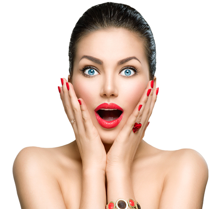 beauty woman face: Beauty fashion surprised woman portrait