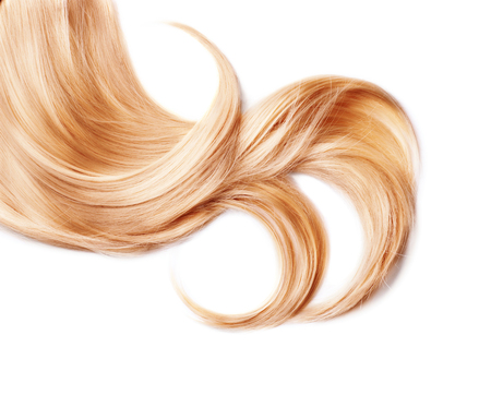 Curl of healthy blond hair isolated on white 스톡 콘텐츠