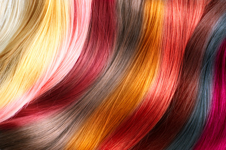 Hair colors palette. Dyed hair color samples