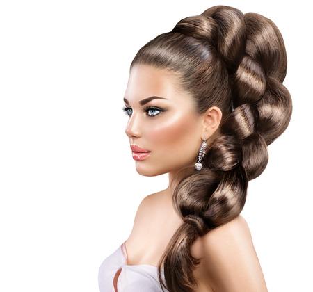 Hair braid. Beautiful woman with healthy long hair Zdjęcie Seryjne