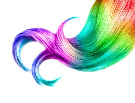 Capelli multicolore isolato su sfondo bianco. Capelli tinti Archivio Fotografico - 52913819